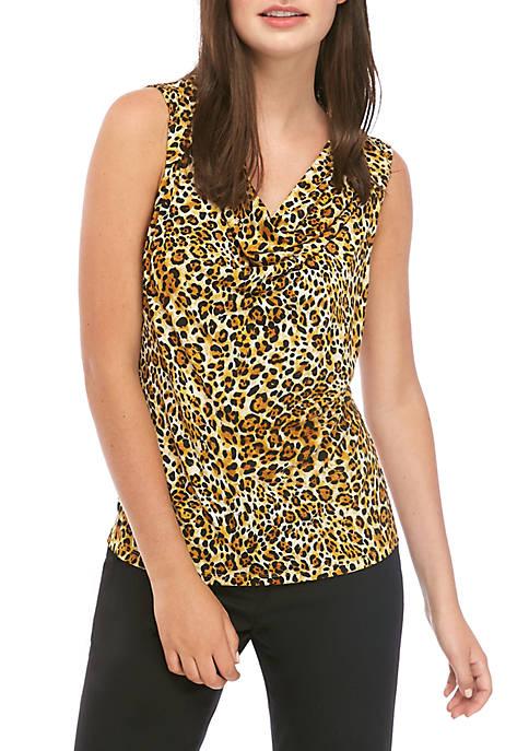 Kasper Womens U Neck Cheetah Cami