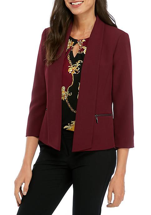 Kasper Womens Flyaway Jacket with Zipper Details