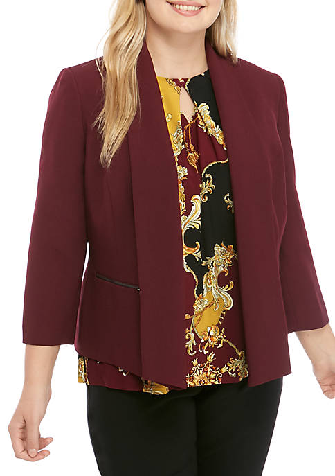 Plus Size Flyaway Jacket with Zipper Details