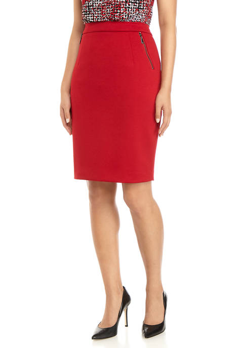 Kasper Womens Ponte Skirt With Zippers