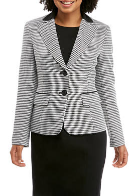 Womens 2 Button Houndstooth Jacket