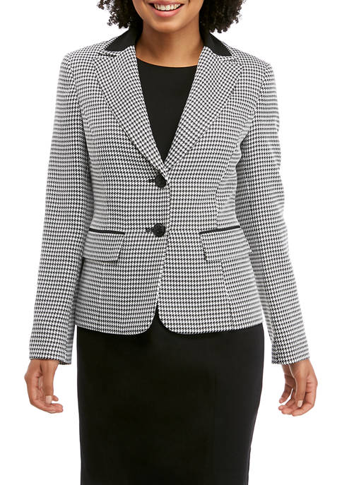 Petite 2 Button Houndstooth Jacket