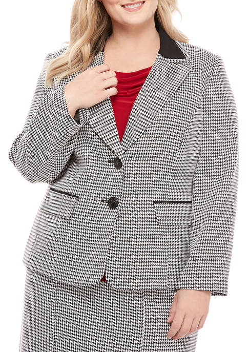 Plus Size 2 Button Houndstooth Jacket