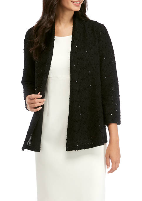 Womens Sequin Knit Cardigan