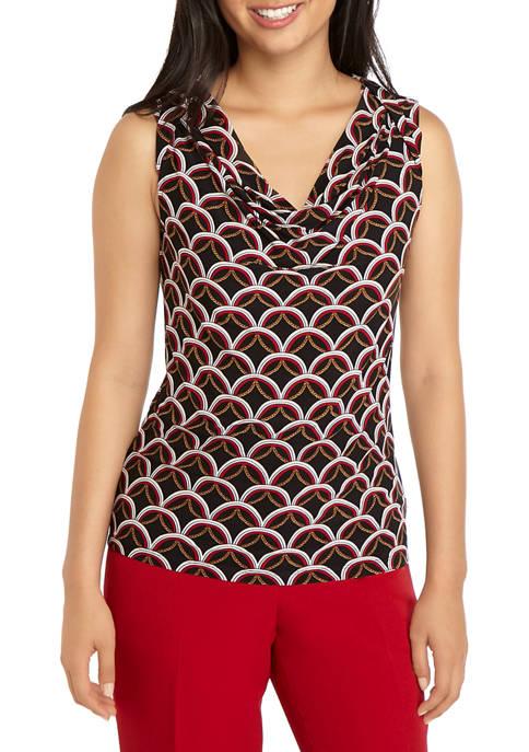Kasper Womens Sleeveless Chain Print Drape Neck Top