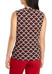 Womens Sleeveless Chain Print Drape Neck Top