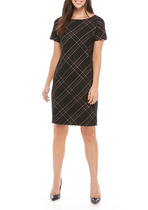 Womens Short Sleeve Diagonal Plaid Sheath Dress
