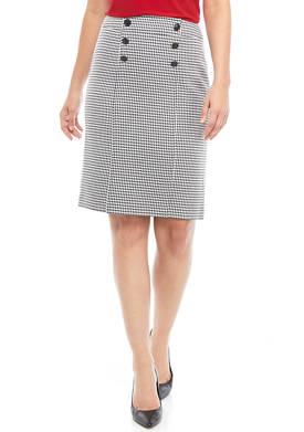 Womens 6 Button Houndstooth Skirt