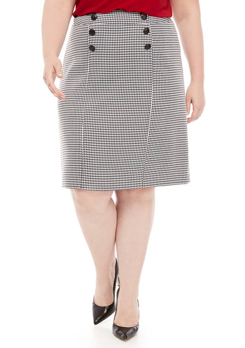 Plus Size 6 Button Houndstooth Skirt