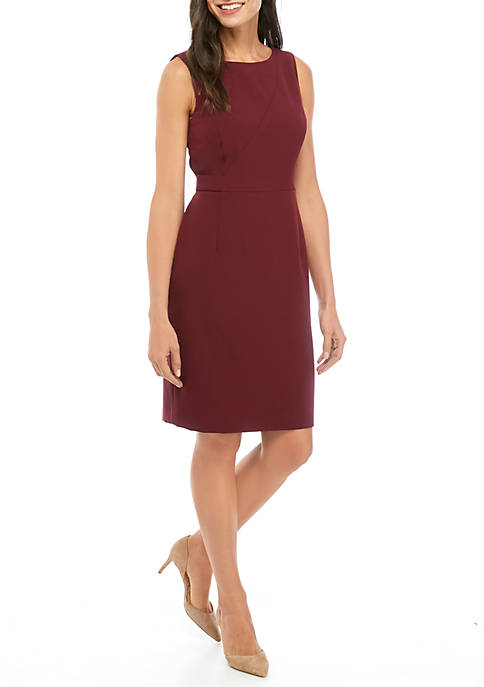 Kasper Petite Sleeveless Sheath Dress with Zipper Detail