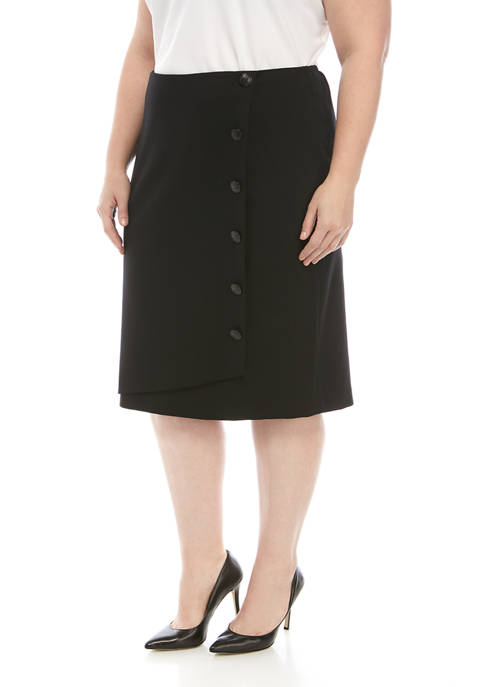 Kasper Plus Size Ponte Skirt With Buttons
