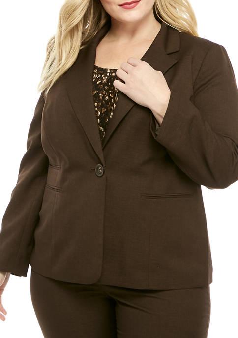 Kasper Plus Size Melange Notch Collar Jacket