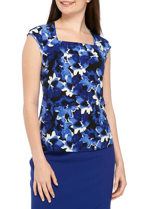 Kasper Womens Floral Square Neck Knit Top