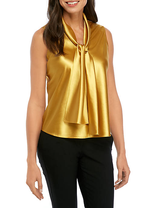 Kasper Womens Solid Charmeuse Tie Neck Blouse