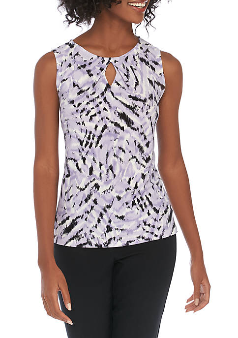 Petite Sleeveless Zebra Print Knit Cami
