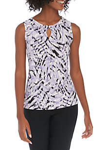Kasper Petite Sleeveless Zebra Print Knit Cami