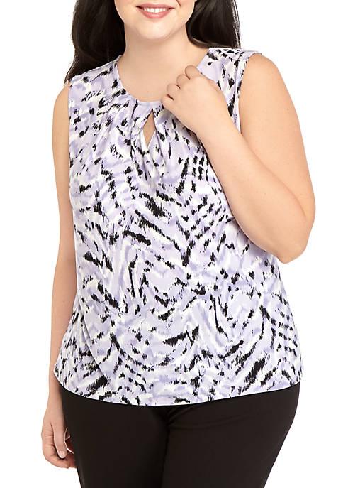 Kasper Plus Size Sleeveless Keyhole Stretch Zebra Print
