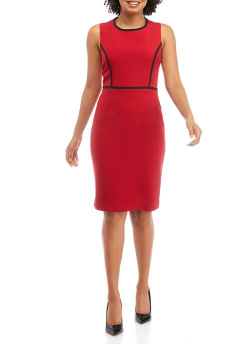 Womens Sleeveless Contrast Trim Sheath Dress