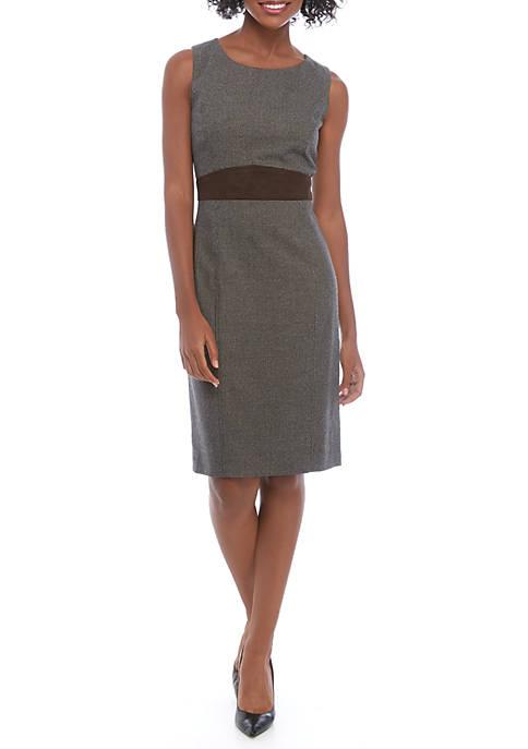 Kasper Womens Sleeveless Houndstooth Dress