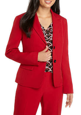 Womens 2 Button Solid Jacket