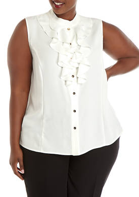 Plus Size Sleeveless Ruffle Front Blouse