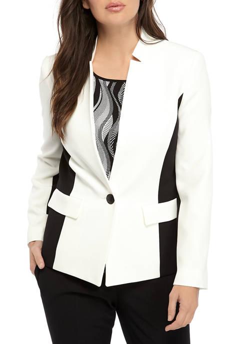 Kasper Womens One Button Notch Clear Jacket