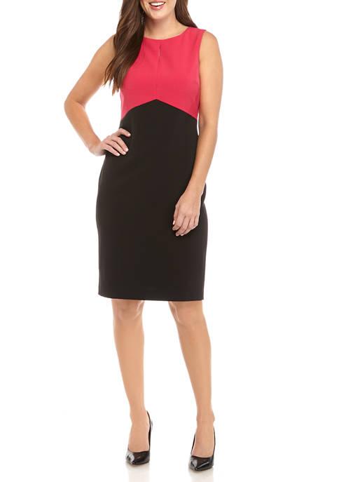 Womens Sleeveless Color Block Sheath Dress