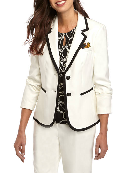 Womens Two Button Notch Collar Jacket with Framing