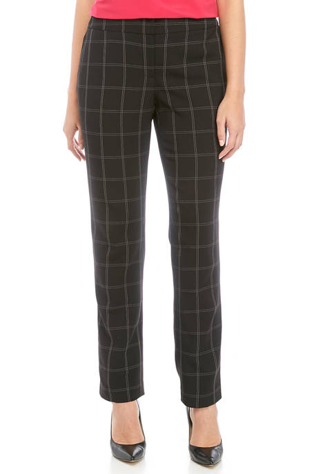 Womens Windowpane Slim Pants
