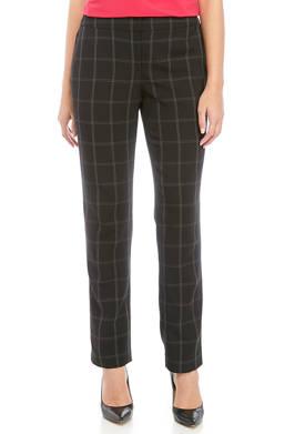 Petite Windowpane Slim Pants