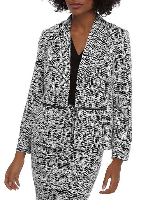 Womens Wing Collar Knit Metallic Jacquard Jacket with Zip Pockets