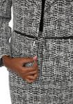 Petite Wing Collar Knit Metallic Jacquard Jacket