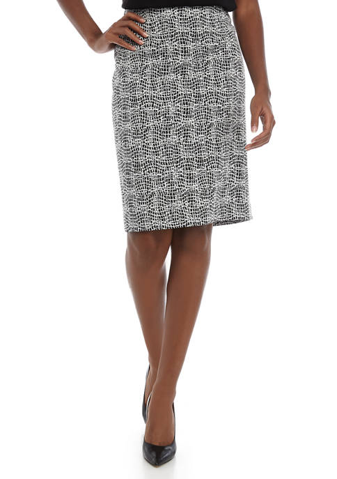 Kasper Womens Knit Metallic Jacquard Skirt