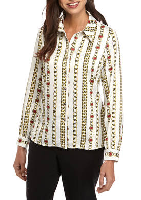 Womens Long Sleeve Button Down Chain Link Satin Blouse