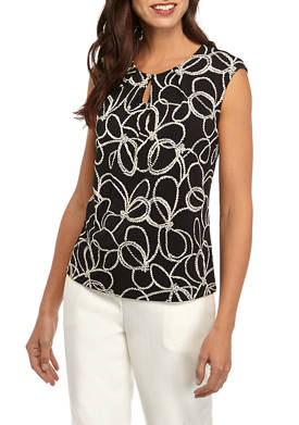 Womens Cap Sleeve Floral Rope Textured Top