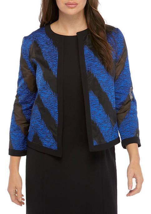 Kasper Womens Jewel Neck Textured Organza Flyaway Jacket