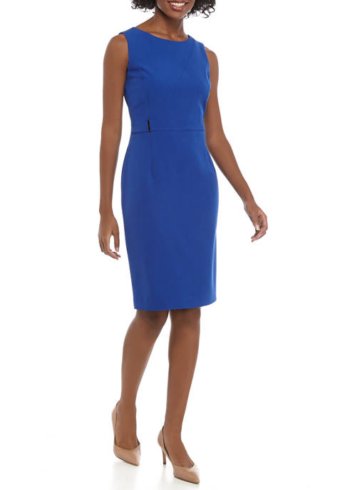 Kasper Womens Sheath Dress with Zip Detail