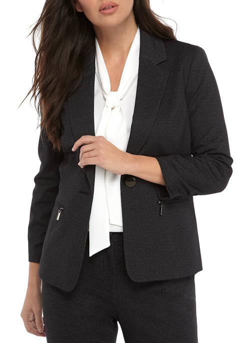 Kasper Womens Button Notch Collar Jacket