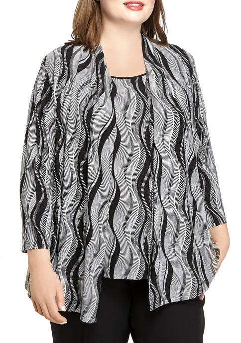 Kasper Plus Size 3/4 Sleeve Graphic Lines Print