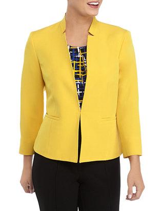 Kasper Womens Hardware Closure Stand Collar Crepe Jacket