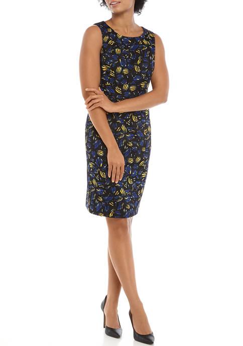 Kasper Womens Sleeveless Jewel Neck Sheath Dress