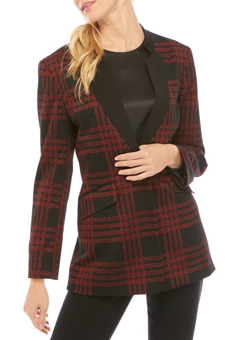 Kasper Womens Plaid One Button Stand Collar Jacket