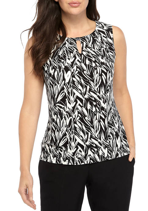 Womens Sleeveless U-Neck Floral Top with Detailing