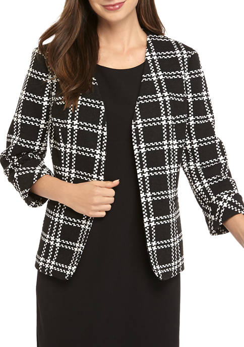 Womens Knit Plaid Fly Away Jacket