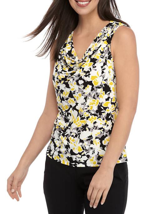 Kasper Womens Sleeveless Drape Neck Floral Print Top