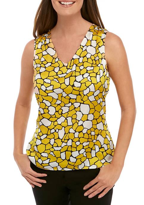 Kasper Womens V-Neck Geometric Giraffe Print Blouse