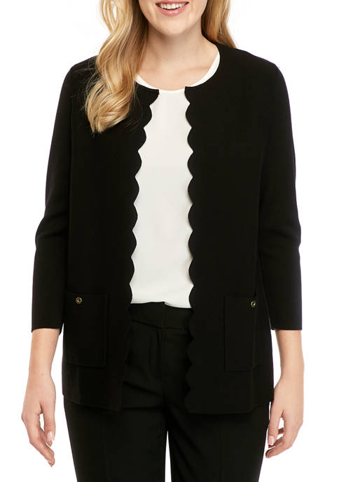 Womens Scallop Front Pocket Cardigan