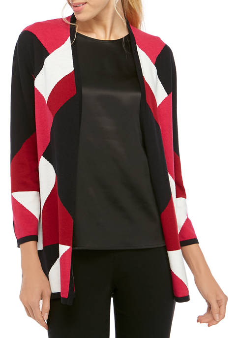 Kasper Womens Color Block Intarsia Sweater