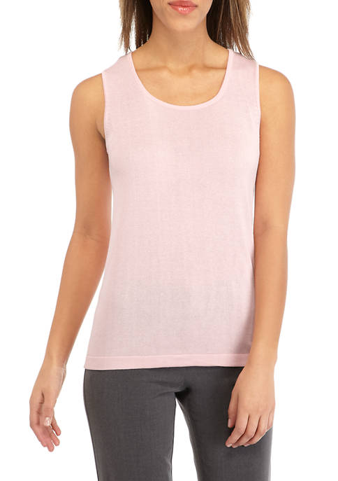 Kasper Womens Sleeveless Square Neck Sweater Camisole
