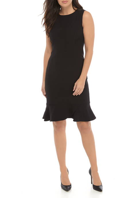 Kasper Womens Jewel Neck Dress with Bottom Scallop